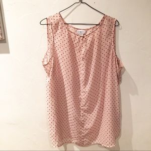 Pink bow printed tank top blouse